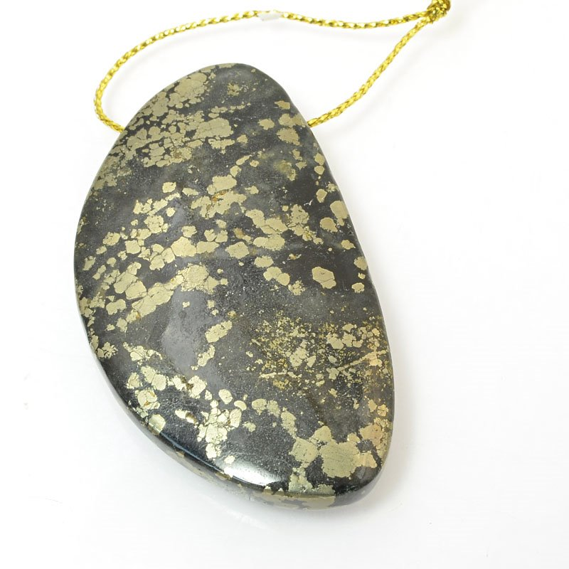 s11485 Stone Pendant - OOAK - 32 x 55 mm Freeform - Pyrite in Magnetite