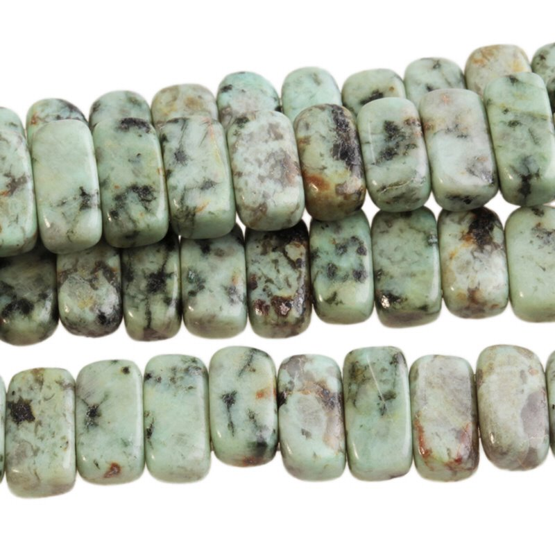 s13556 Stone Beads - 10 x 5 mm Double Drilled Rectangle - African Turquoise (strand)