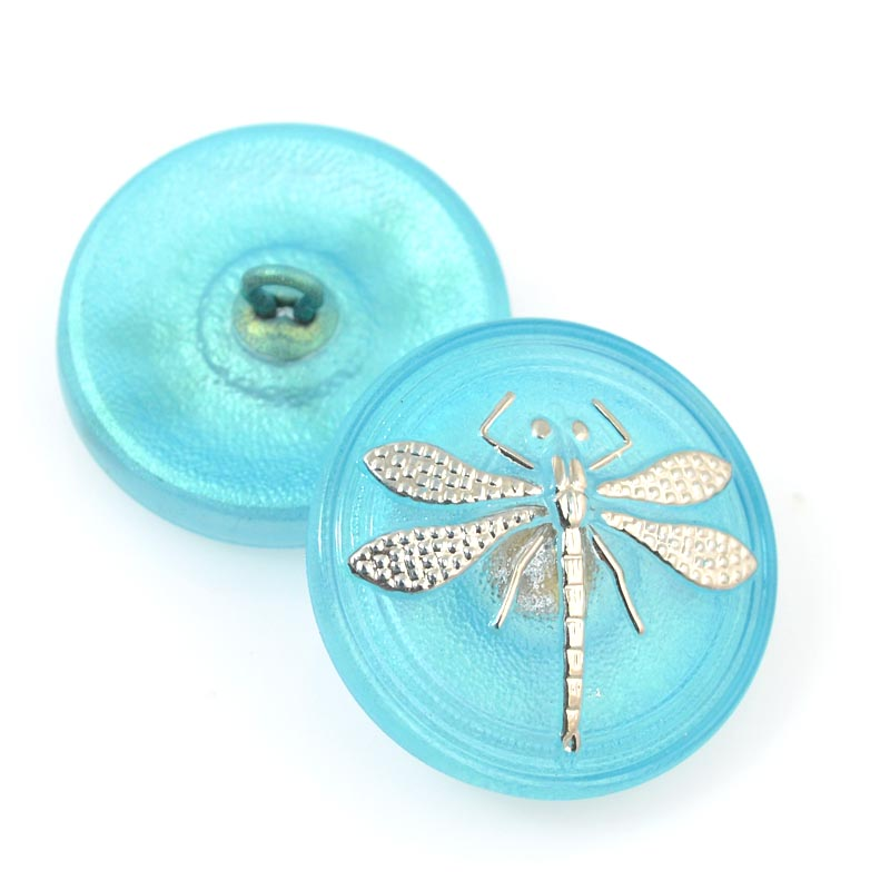 s13842 Button - 1 inch Embossed Dragonfly - Magenta Purple (1)