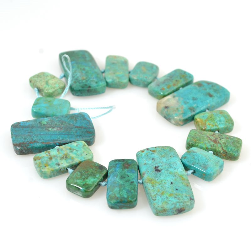 s14412 Stone Beads - Mixed Rectangle Tablets - Chrysocolla (strand)