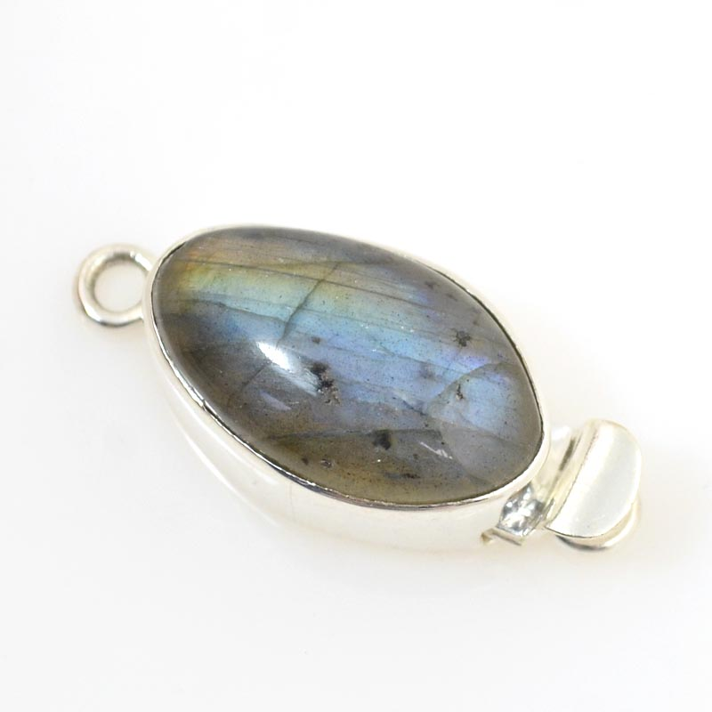 s14722 Sterling - Box Clasp w Stone - Oval with Random Stone - Labradorite
