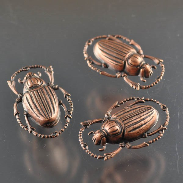 s14899 Metal Component -  Scarab - Antiqued Copper (1)