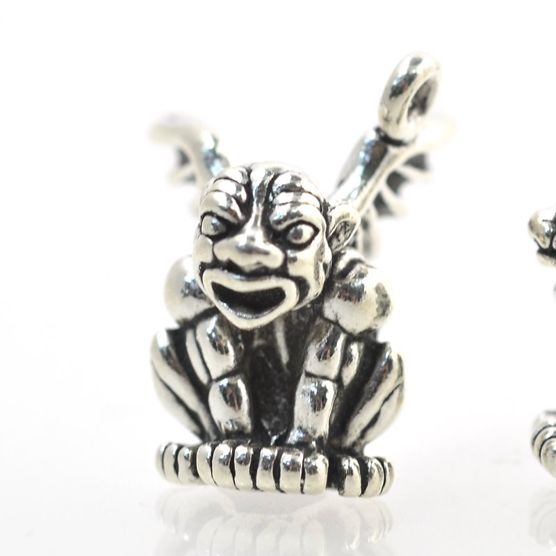 s15051 Charm/Pendant -  Grotesque Gargoyle - Sterling Silver