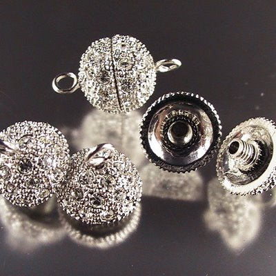 s15181 Findings - Magnetic Clasp - with Rhinestones -  Onion Flower - Crystal / Silver (1)