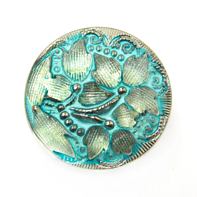 s16342 Czech Glass Button - 18 mm Lacy Flower - Old Gold Aqua