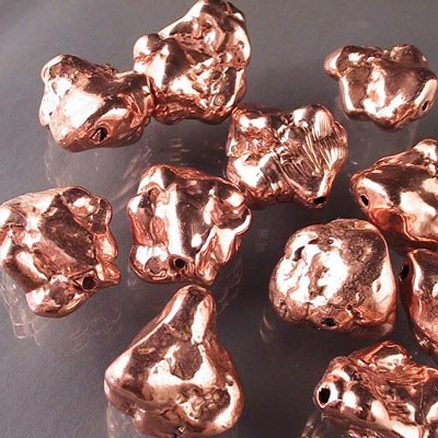 s16692 Metal Beads - 1 inch Chunky Nugget Boulders - Bright Copper (1)