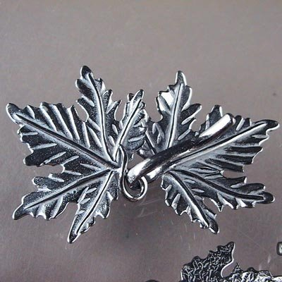 s16709 Findings - Clasps - Hook and Eye -  Maple Leaf Forever - Gunmetal Sterling (1)