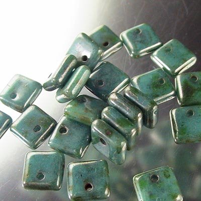 s16775 Glass - 6 mm Squarelets - Green Turquoise Lumi (strand 25)