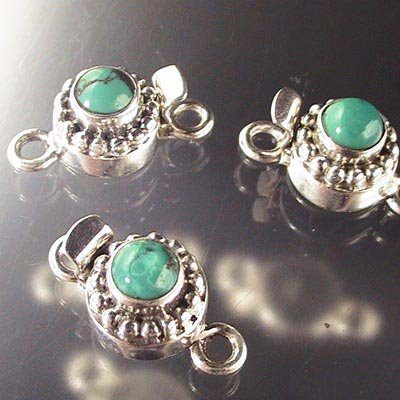 s17258 Sterling - Box Clasp w Stone -  Round with Bumps - Turquoise (1)