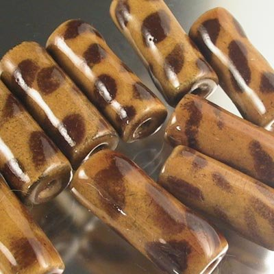 s19225 African Handmade Ceramic Beads -  Tube - Spotted Hyaena (1)