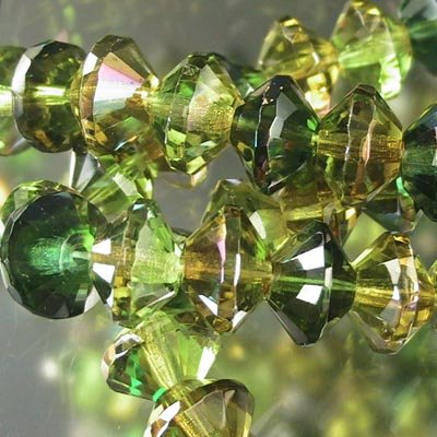 s19281 Firepolish - 11 mm Faceted Bicone Rondelle Rivoli - Forest Gems (strand 25)