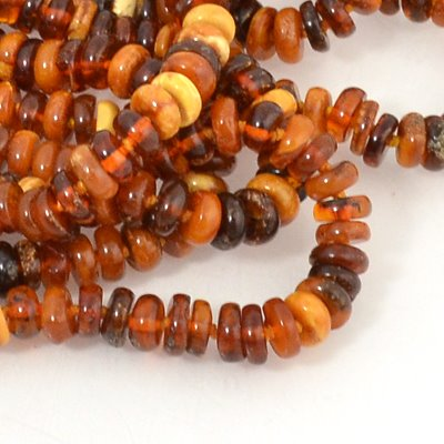 s19333 Amber Beads - Donut Rondelles - Mixed Amber (strand)