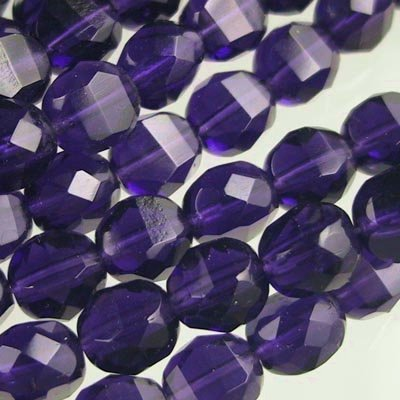 s19445 Firepolish - 8 mm TwoWay Cut - Tanzanite (strand 25)