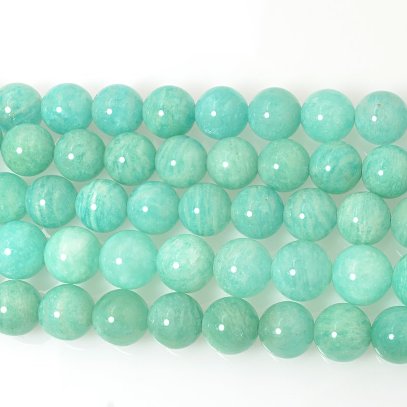 s20044 Stone Beads - 12 mm Round - Brazilian Amazonite (strand)