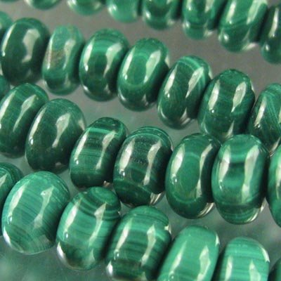 s20080 Stone Beads - 8 mm Rondelle - Malachite (strand)