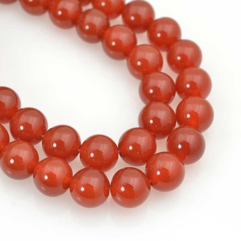 s20203 Stone Beads - 10 mm Round - Carnelian (strand)