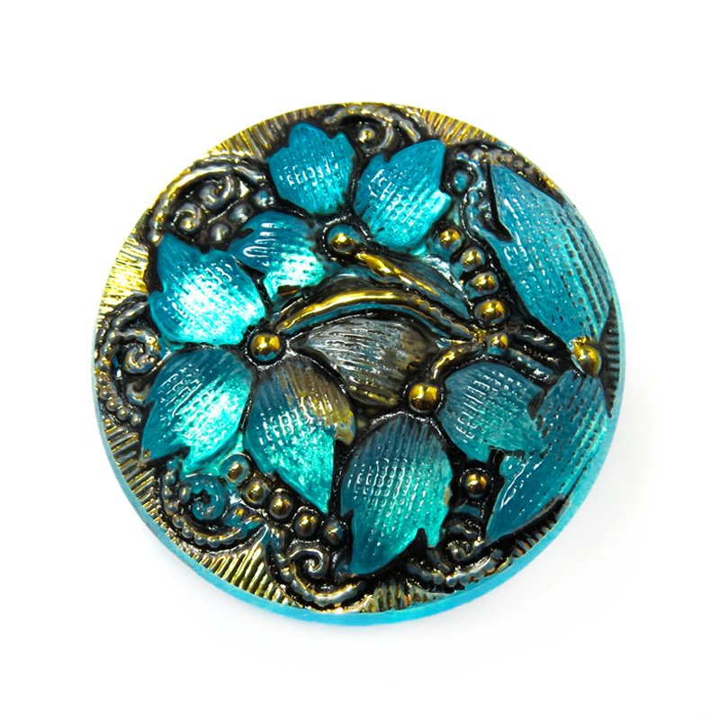 s20382 Czech Glass Button - 18 mm Lacy Flower - Aqua Old Gold