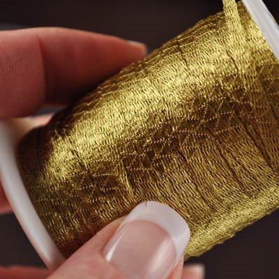 s20429 Stringing - 2.5 mm Wire Lace Ribbon - Brass (yard)