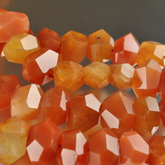 s22212 Stone Beads - 20 x 13 mm Faceted Nugget - Carnelian (1)
