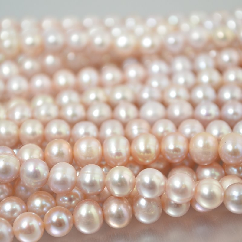s2236 Freshwater Pearls - 6 x 7 mm Near Round Pearl - Cream Rose (strand)
