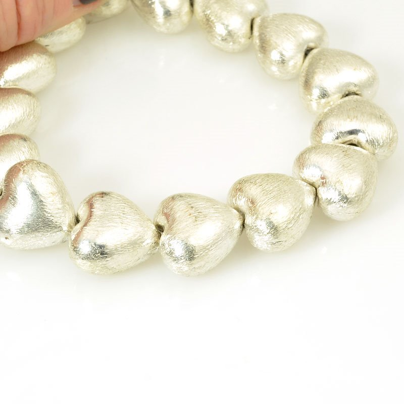 s23438 Metal Beads - 16mm Puff Hearts - Brushed Silver (strand)