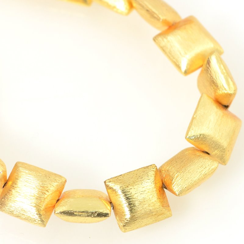 s24748 Metal Beads - 12 mm Puffy Squares - Brushed Gold (strand)