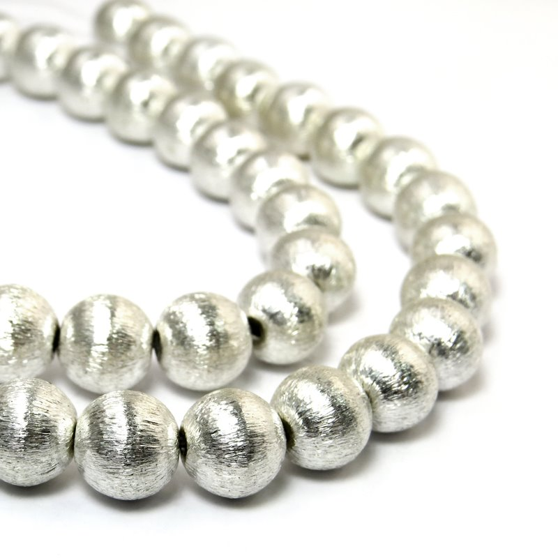 s24753 Metal Beads - 20 mm Round - Brushed Silver (1)