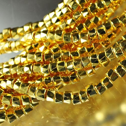 s24980 Glass - 6 mm Faceted Column - 24KT Gold Plated (Strand 50)