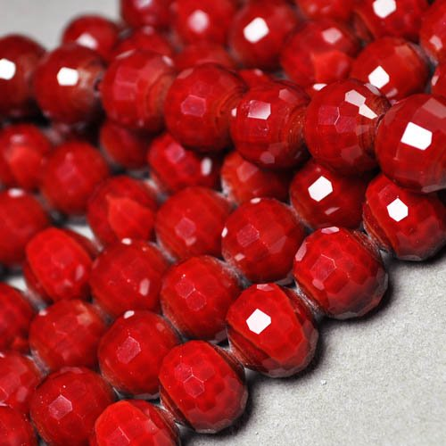 s24987 Stone  Beads - 12 mm Faceted Round - Ruby Velvet Quartz (Strand 20)