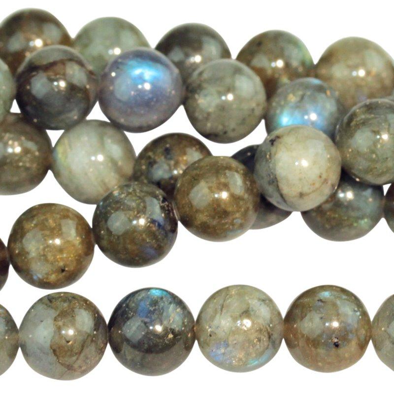 s26804 Stone Beads - 10 mm Round - Labradorite (strand)