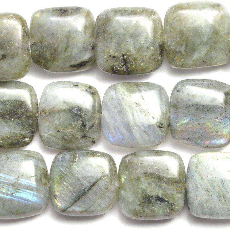 s26807 Stone Beads - 12 mm Square - Labradorite (strand)