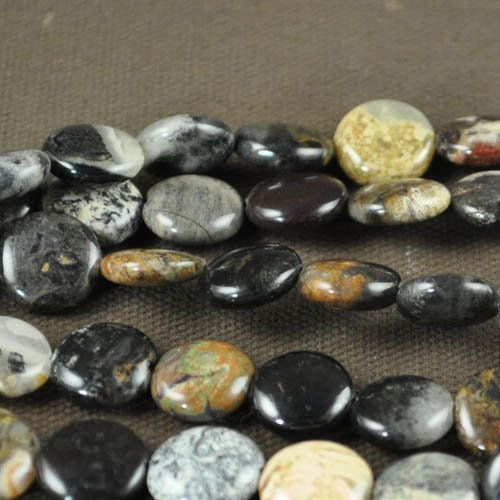 s27452 Stone Beads - 12 mm Coin - Black Silver Leaf Jasper (strand)