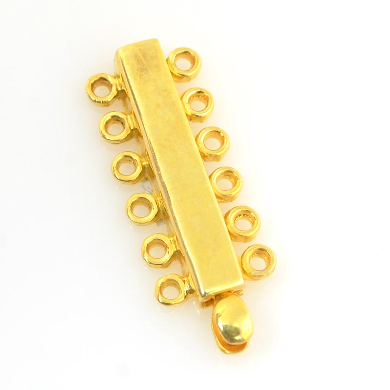 s27831 Findings - Box Clasp - 6 Strand Plain Long - Vermeil