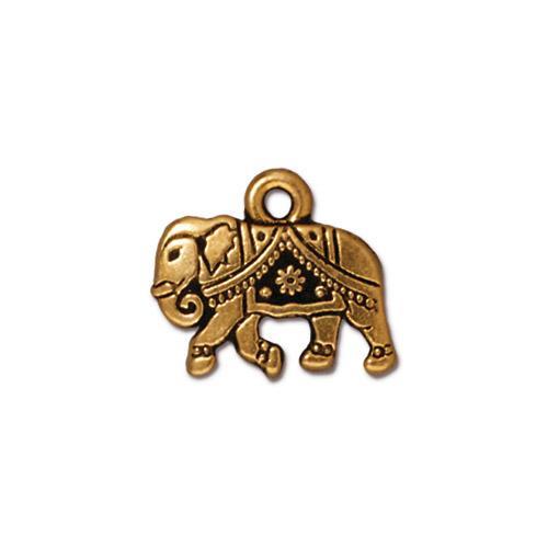 s27943 Metal Charm/Drop - Gita Elephant - Antique Gold