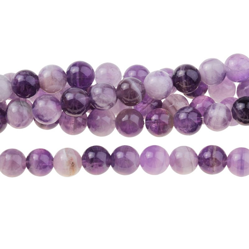s28122 Stone Beads - 8 mm Round - Dog Tooth Amethyst (8 inch strand)