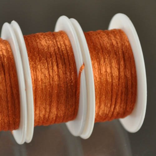 s28366 Stringing - 1 mm Wire Lace Ribbon - Tangerine (Yard)