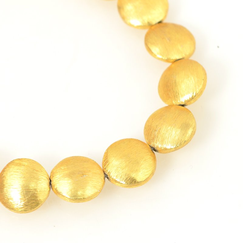 s28751 Metal Beads - 12 mm Puff Lentils - Brushed Gold (strand)