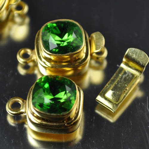 """s29779 Vermeil Box Clasp w Swarovski Elements - Faceted Square - Fern Green <font color=""""#FF0000"""">Managers Fall Special</font> 50% off!"""