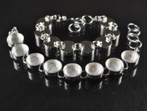 s30565 Findings - 18 mm Round Bezel Multi Link Bracelet - Silver plated (1)
