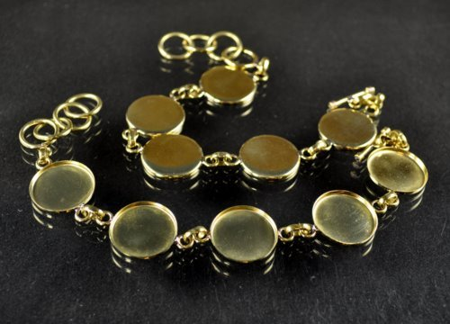 "s30568 Findings - 21 mm Round Bezel Multi Link Bracelet - Bright Brass <font color=""#FF0000"">Managers LAST CALL </font> 80% off!"