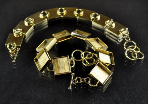 "s30571 Findings - 16 mm ID Square Bezel Multi Link Bracelet - Bright Brass <font color=""#FF0000"">Managers LAST CALL </font> 80% off!"