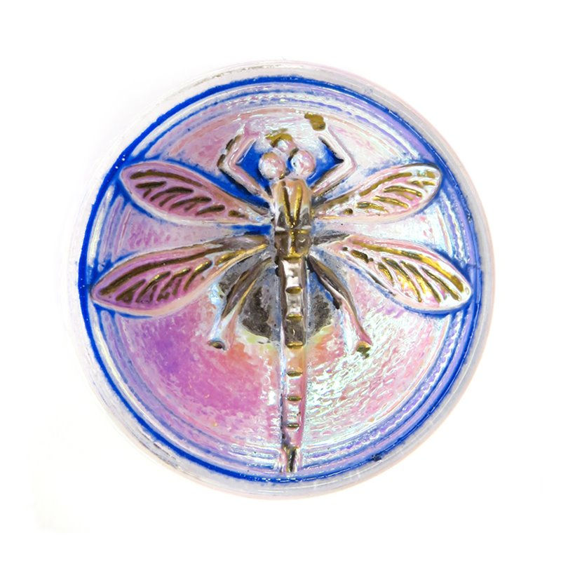 s31122 Czech Glass Button - 18 mm Embossed Dragonfly - Caribbean Sunset