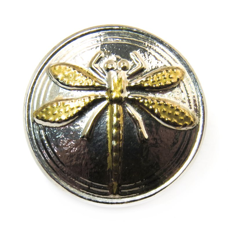 s31124 Czech Glass Button - 18 mm Embossed Dragonfly - Gold Skimmer