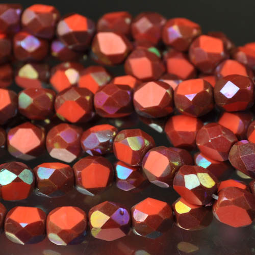 s31729 Firepolish - 6 mm Faceted Windows - Orange  Mahogany Lustre (strand 25)
