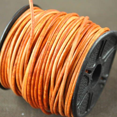 s32948 Stringing - 1.5 mm Leather Cord - Streaky Orange (1 Metre)