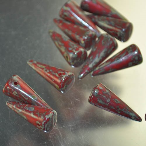 "s33079 Glass Beads - 17 mm Spikes - Coral Picasso (6) <font color=""#FF0000"">Managers LAST CALL </font> 80% off!"