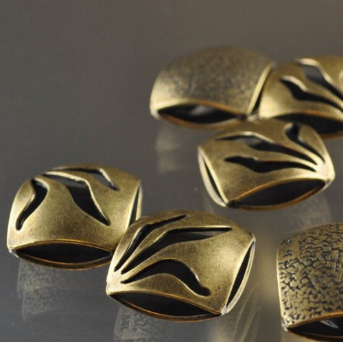 "s33305 Metal Beads - 17 mm Double Square - Flame - Antiqued Brass <font color=""#FF0000"">Managers LAST CALL </font> 80% off!"