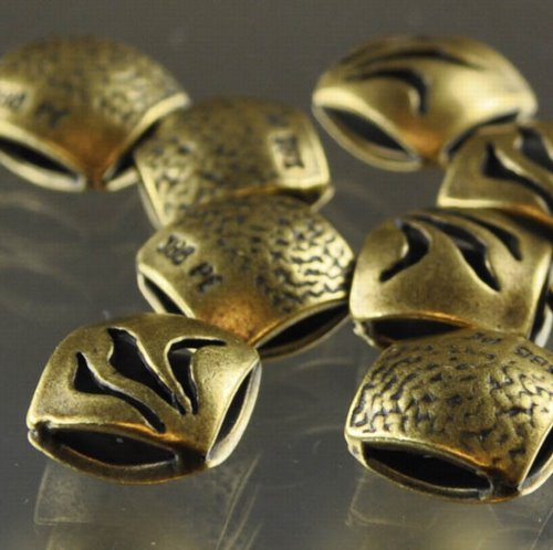 """s33308 Metal Beads - 9 mm Double Square - Flame - Antiqued Brass <font color=""""#FF0000"""">Managers LAST CALL </font> 80% off!"""