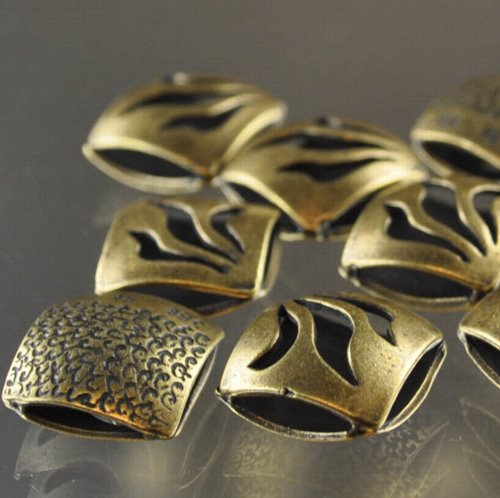 """s33313 Metal Beads - 13 mm Double Square - Flame - Antiqued Brass <font color=""""#FF0000"""">Managers LAST CALL </font> 80% off!"""