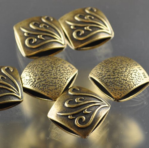 "s33320 Metal Beads - 17 mm Double Square - Vines - Antiqued Brass <font color=""#FF0000"">Managers LAST CALL </font> 80% off!"